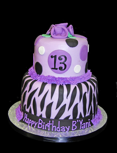 13th Birthday Black and Purple Zebra Print Cake