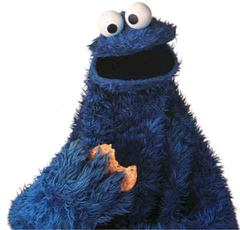 Cookie Monster taking a bite