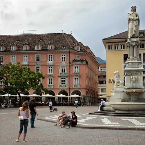 Piazza Walther - Bolzano - monument of Walther von der Vogelweide (c. 1170 - c. 1230) - he is the most celebrated of the Middle High German lyric poets.