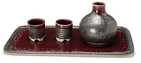 CERAMIC SAKE SET AND TRAY Modern Distinctive Shapely Take on Traditional Japanese Drink in Crimson Ceramic Handmade by Alice Goldsmith UncommonGoods from uncommongoods.com