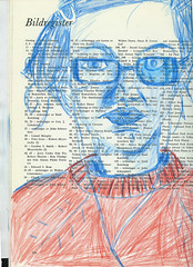 Self portrait with blue pencil