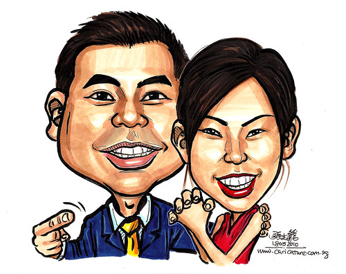 Caricature of Jovie and husband