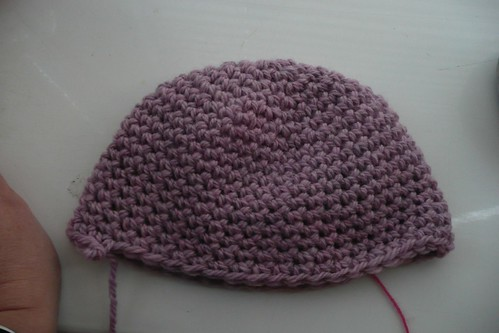 Pink beanie in progress