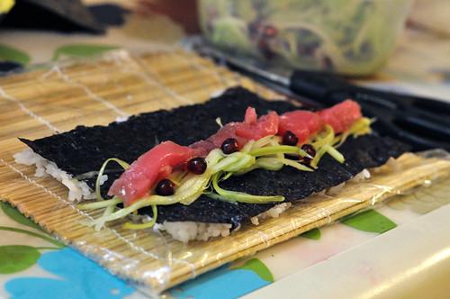 Pomegranate marinated tuna steak sushi