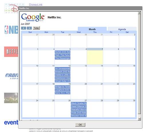 Netflix Google Calendar