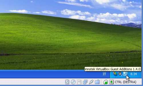 VirtualBox - Guest Additions - Windows XP: installate e attive nella system tray