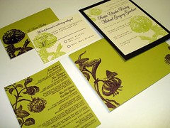 Wedding Invitations - Wedding Invitations - Britta & Michael (UglyKitty) Tags: floral botanical chocolate eggplant chartreuse gocco invitation weddinginvitations rsvp directioncard