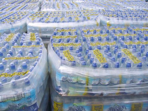 Bottled water awaiting distribution to the Cheltenham community