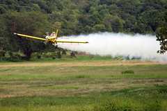 Low pass (Chad Fust) Tags: trees cloud airplane flying aircraft low flight ground aeroplane agricultural chemical cropduster sprayer airtractor