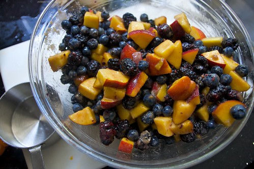 fruits mixed in with sugar & corn starch