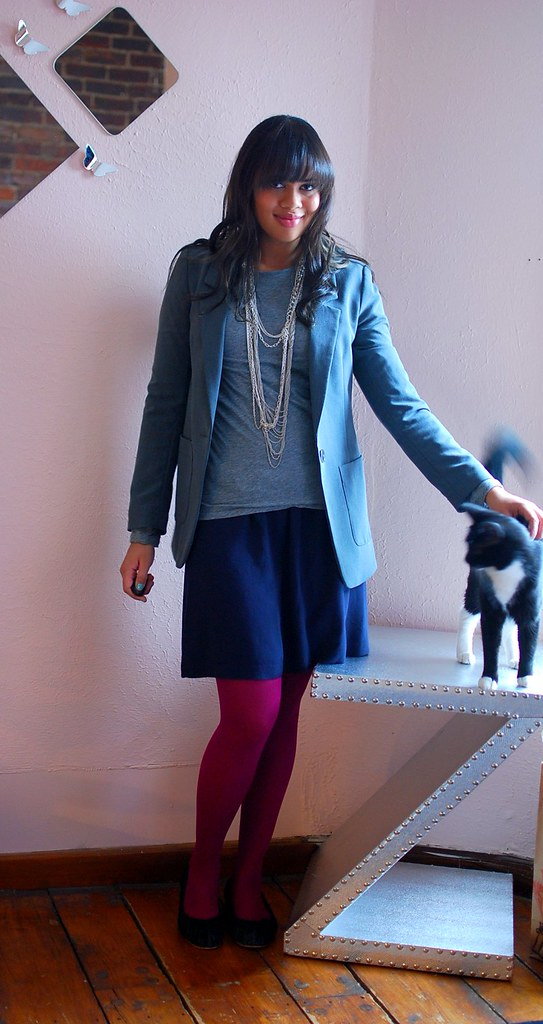 outfit with skirt and bright tights
