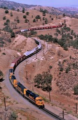 Santa Fe Railway SD-45 locomotive number 5308, plus an SD-45-2, an SD-40-2 and another SD-45, leads an eastbound freight train through Tehachapi Pass on trackage shared with and owned by the Southern Pacific. Kern County, California, July 15, 1985. (Ivan S. Abrams) Tags: arizona santafe minnesota ivan trains sp flagstaff getty clovis canonae1 abrams railways tehachapi belen cajon gettyimages railroads abo willmar smrgsbord tucsonarizona atsf warbonnet riordan railfans 12608 outdoorbeauty californiatrains santaferailway onlythebestare ivansabrams trainplanepro kerncountycalifornia pimacountyarizona safyan arizonabar arizonaphotographers ivanabrams mountainrailroads californiarailroads californiarailways cochisecountyarizona tucson3985 gettyimagesandtheflickrcollection top20rrpixhf copyrightivansabramsallrightsreservedunauthorizeduseofthisimageisprohibited tucson3985gmailcom ivansafyanabrams arizonalawyers statebarofarizona californialawyers copyrightivansafyanabrams2009allrightsreservedunauthorizeduseprohibitedbylawpropertyofivansafyanabrams unauthorizeduseconstitutestheft thisphotographwasmadebyivansafyanabramswhoretainsallrightstheretoc2009ivansafyanabrams abramsandmcdanielinternationallawandeconomicdiplomacy ivansabramsarizonaattorney ivansabramsbauniversityofpittsburghjduniversityofpittsburghllmuniversityofarizonainternationallawyer