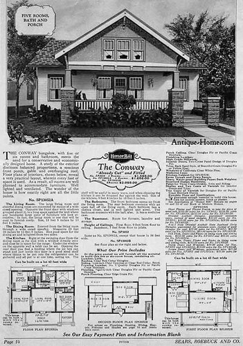 1928 Catalog. A 1.5 story, cross gabled Bungalow. See the Floor plan.
