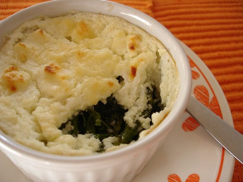 Broccolini and cauliflower soufflé