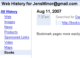 Google Web History Book Search