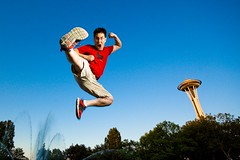 hi-ya! (poopoorama) Tags: seattle selfportrait me washington jump kick danny spaceneedle seattlecenter strobist 365daysouttake 365reject belikepoo flickr:user=poopoorama day171outtake