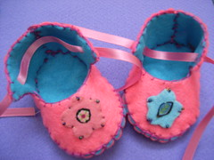 pink baby slippers - by Funky Shapes