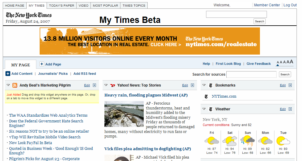 the NY Times new personalized start page, MyTimes, with added RSS feed
