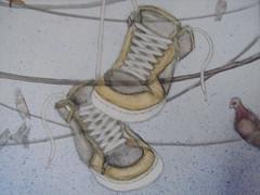 sneaker line (Misphit Melburn) Tags: acrylic pigeons sneakers canvas powerlines misphit