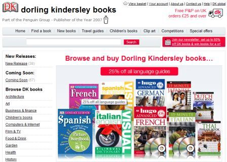 New Dorling Kindersley homepage