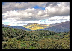 Trossachs 2 (Gary C Photography) Tags: trees sky green sunshine clouds landscape scotland nationalpark hills trossachs hdr queenelizabethpark