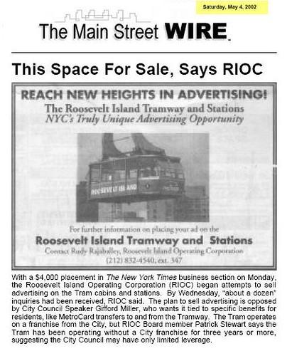 RIOC Tram Ad May 2002