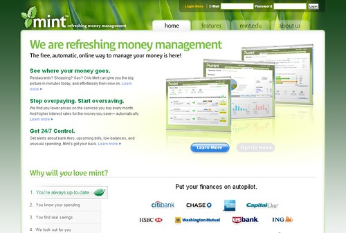 Mint Homepage Screenshot