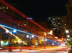 leaving lodo (pbo31) Tags: city trip travel blue light urban usa black west color night america canon moving movement colorado downtown traffic favorites move denver structure september co pm 2007 roadway urbanlife lightstream