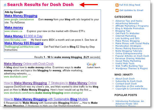 Google Custom Search Results for Dosh Dosh