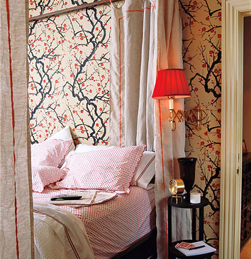 """Flowering Quince"" wallpaper from Clarence House. Photo by Gemma Costas,"