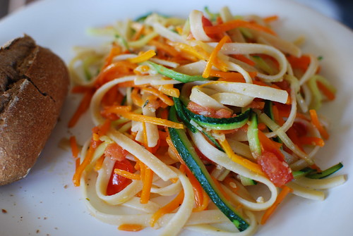 Julienned Carrots & Zucchini with Pasta