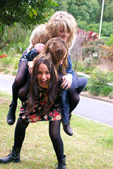 And we're the three best friends that anyone can have... (StephhxBby) Tags: friends nature fashion canon colourful piggyback