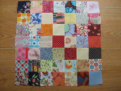 1st block for Scrap Vomit quilt along