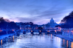Saint Peter and Angels' Bridge Sunset, Rome - Italy (HDR) (luigig75) Tags: city travel bridge sunset summer vacation italy rome beach beautiful saint night canon wonderful amazing europe peter angels stunning f4 hdr 1740 absoluteblue 450d canon1740mmlf4 bellitalia platinumheartaward mygearandme mygearandmepremium mygearandmebronze mygearandmesilver mygearandmegold mygearandmeplatinum