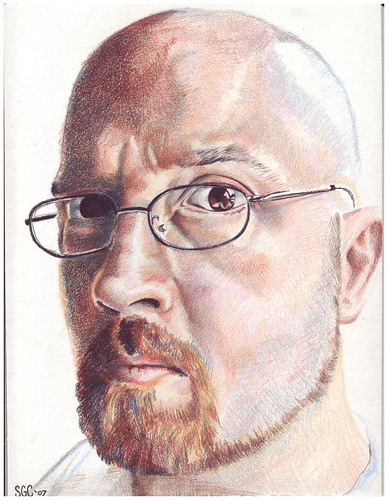 Colored pencil drawing entitled Self Portrait II
