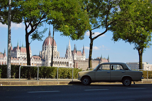 A Trabant parked in front of the Parliament