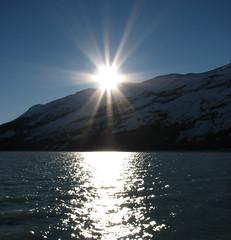 Sunset at the glacier (♡ Popotito ♡) Tags: sunset sky sun mountain lake sol water argentina agua montana glacier cielo puestadesol glaciar elcalafate instantfave specnature ysplix
