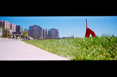 ant's angle (poopoorama) Tags: seattle red people panorama sculpture art film buildings washington eagle panoramic fujifilm lowdown c41 olympicsculpturepark ultronic pro400h