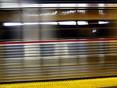 Infinite Transit (kchbrown) Tags: red motion yellow subway aluminum camden stripe masstransit patco speedline continuance