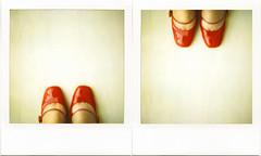 *me-me (*6261) Tags: me self polaroid sx70 redshoes sx70film