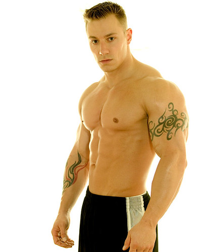 sexy male model shirtless picture hot muscle man with tattoo