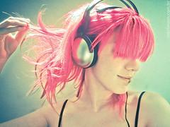 Music = Love - pink green music earphones hair love