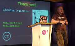 Christian Heilmann on stage at Open Hack Day