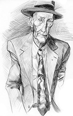 William Burroughs sketch (Mark Hammermeister) Tags: pen ink sketch drawing sketchbook caricature writer author williamburroughs thenakedlunch