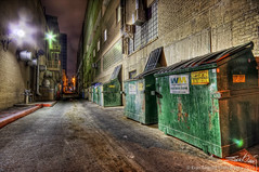 Dumpsters in Alley (Evan Gearing (Evan's Expo)) Tags: street trash dumpster austin alley nikon texas tx sigma wm management alleyway rubbish waste avenue 1020 7th bins hdr wastemanagement d90 evangearingphotography evansexpo