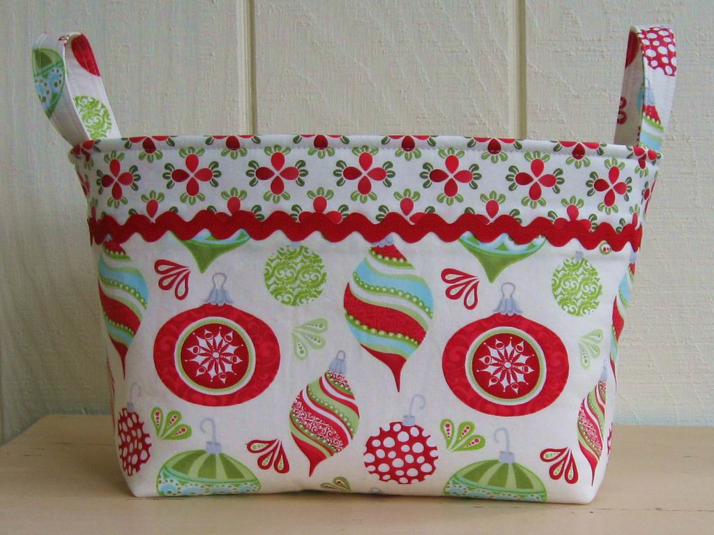 FABRIC BIN- Organizer- CHRISTMAS- Ornaments- Large
