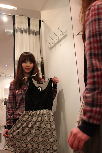 Chikako with her design dress with QOS lapel Cardigan