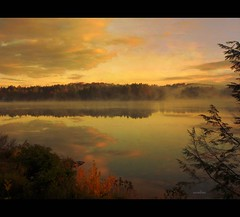 ~~~ ~ serenity ~ ~~~ (xandram) Tags: autumn trees lake fog clouds photoshop reflections textures selectbestexcellence sbfmasterpiece