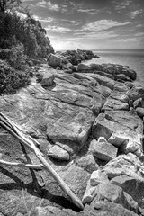 Deserted (Shaolin Tiger) Tags: blackandwhite bw beach rocks asia dramatic sigma malaysia penang 1020mm hdr sigma1020mm photomatix