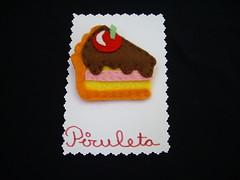 Broche Tarta (piruleta_broches) Tags: postre broche handmade chocolate pastel brooch felt artesanía tarta abalorios accesorios broches fieltro